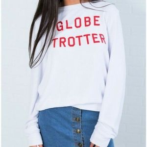 WILDFOX White GLOBE TROTTER Long Sleeve Jumper Red